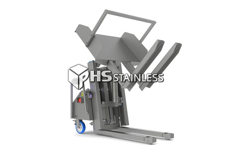 lift and tilt tipper: stainless steel backsaver food tipper equipment