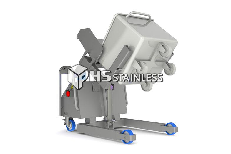 buggy tipper: stainless steel backsaver food tipper equipment